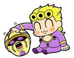 1boy :3 bkub blonde_hair blush blush_stickers braided_ponytail cleavage_cutout closed_eyes commentary curly_hair dot_nose giorno_giovanna gold_experience jacket jojo_no_kimyou_na_bouken large_buttons long_sleeves male_focus motion_lines open_mouth pants petting purple_eyes purple_footwear purple_jacket purple_pants severed_head shoes shouting simple_background sitting solo stand_(jojo) vento_aureo white_background