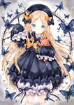1girl abigail_williams_(fate/grand_order) absurdres animal bangs black_bow black_dress black_headwear blonde_hair bloomers blue_eyes blush bow bug butterfly chohee closed_mouth commentary_request dress fate/grand_order fate_(series) forehead hair_bow hat head_tilt highres holding insect key keyhole light_frown long_hair long_sleeves multiple_bows multiple_hair_bows object_hug orange_bow parted_bangs polka_dot polka_dot_bow sleeves_past_fingers sleeves_past_wrists solo sparkle stuffed_animal stuffed_toy teddy_bear underwear very_long_hair white_bloomers