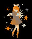 1girl angel_wings barefoot black_background borrowed_character bright_pupils daizu_(melon-lemon) dress expressionless floating full_body halo hands_up head_tilt highres juliet_sleeves long_sleeves looking_away no_nose one_eye_closed original puffy_sleeves simple_background solo star tareme wings