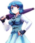 1girl :o bangs black_gloves blue_eyes blue_hair blue_skirt blue_vest breasts closed_umbrella commentary_request cowboy_shot dimples_of_venus eyebrows_visible_through_hair fingerless_gloves gloves hand_on_hip heterochromia highres karakasa_obake long_sleeves looking_at_viewer medium_breasts mono_(moiky) open_mouth oversized_object red_eyes shirt short_hair simple_background skirt solo tareme tatara_kogasa touhou umbrella vest white_background white_shirt