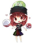 1girl bare_legs black_shirt blush chibi clothes_writing earth_(ornament) electrode full_body gen_1_pokemon gen_5_pokemon head_scarf heart hecatia_lapislazuli highres moon_(ornament) multicolored multicolored_clothes multicolored_skirt nikorashi-ka off-shoulder_shirt open_mouth pokemon pokemon_(creature) polos_crown red_hair shirt simple_background skirt solo solosis touhou voltorb white_background