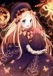 1girl :d abigail_williams_(fate/grand_order) bangs black_bow black_dress black_hat blonde_hair blue_eyes blush bow bug butterfly commentary_request dress eyebrows_visible_through_hair fate/grand_order fate_(series) forehead hair_bow hat highres insect lokyin_house long_hair long_sleeves looking_at_viewer object_hug open_mouth orange_bow parted_bangs polka_dot polka_dot_bow roman_numerals round_teeth sky sleeves_past_fingers sleeves_past_wrists smile solo star_(sky) starry_sky stuffed_animal stuffed_toy teddy_bear teeth upper_teeth very_long_hair