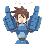 1boy aka_(s3637) brown_hair closed_eyes commentary_request crying male_focus open_mouth rock_volnutt rockman rockman_dash smile solo sparkle t_t tears thumbs_up translated uso_desu