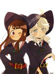 2girls ;) absurdres blue_eyes blush brown_hair commentary_request cowboy_shot diana_cavendish frown hat highres kagari_atsuko light_green_hair little_witch_academia looking_at_viewer luna_nova_school_uniform multiple_girls one_eye_closed red_eyes satuki05maguro simple_background smile v-shaped_eyebrows white_background wide_sleeves witch witch_hat