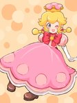 1girl ;d artist_name blonde_hair bow brown_footwear crown dress earrings full_body grey_eyes highres hino_(8) jewelry looking_at_viewer medium_hair new_super_mario_bros._u_deluxe one_eye_closed open_mouth peachette pink_background pink_dress puffy_short_sleeves puffy_sleeves red_bow short_sleeves sitting smile solo toadette twintails