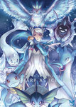 1girl androgynous articuno blanche_(pokemon) blue_eyes cloyster dark_skin dewgong english holding holding_poke_ball jacket lapras open_clothes open_jacket payoki poke_ball pokemon pokemon_(creature) pokemon_go ponytail squirtle team_mystic vaporeon white_hair