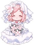 1girl absurdres akari_(qq941315189) bouquet bride chibi closed_eyes closed_mouth dress earrings estellise_sidos_heurassein facing_viewer flower highres holding holding_bouquet jewelry necklace pink_hair short_hair smile solo tales_of_(series) tales_of_vesperia veil wedding_dress white_background white_dress