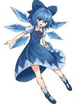 1girl :d absurdres bangs blue blue_bow blue_dress blue_eyes blue_footwear blue_hair blue_wings blush bow cirno detached_wings dress eyebrows_visible_through_hair fairy full_body hair_between_eyes hair_bow highres ice ice_wings looking_at_viewer mary_janes nob1109 open_mouth puffy_short_sleeves puffy_sleeves red_ribbon ribbon shoes short_hair short_sleeves simple_background smile socks solo teeth touhou white_background white_legwear wings