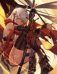 1girl ahoge arm_guards armored_boots black_bow boots bow breasts cleavage commentary crossed_legs dark_skin fate/grand_order fate_(series) hair_between_eyes hair_bow hair_ornament hair_over_one_eye holding holding_weapon knees_to_chest knees_up large_breasts long_hair okita_souji_(alter)_(fate) okita_souji_(fate)_(all) orangesekaii red_scarf scarf silver_hair sitting solo sweat tassel tied_hair weapon yellow_eyes