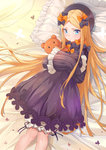 1girl abigail_williams_(fate/grand_order) absurdres bangs bed_sheet black_bow black_dress black_hat blonde_hair bloomers blue_eyes blush bow butterfly closed_mouth commentary_request dress eyebrows_visible_through_hair fate/grand_order fate_(series) frilled_pillow frills hair_bow hat highres long_hair long_sleeves looking_at_viewer lying object_hug on_back orange_bow parted_bangs pillow polka_dot polka_dot_bow sleeves_past_fingers sleeves_past_wrists solo stuffed_animal stuffed_toy teddy_bear trer_(maisuko) underwear very_long_hair white_bloomers