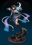 1girl absurdres black_hair bloodstained:_ritual_of_the_night blue_eyes breasts brown_hair detached_sleeves gauntlets gradient_hair hair_between_eyes hair_ornament highres horns looking_at_viewer miriam_(bloodstained) moonface multicolored_hair pale_skin short_hair smile solo stained_glass tattoo weapon whip