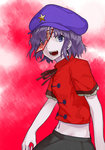 1girl beret blouse chinese_clothes cowboy_shot fang hair_over_one_eye hands hat highres hyounosen_ena jiangshi looking_at_viewer miyako_yoshika ofuda pale_skin purple_eyes purple_hair ribbon sharp_teeth short_hair short_sleeves skirt smile solo standing star teeth touhou