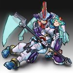1boy 1girl android angry armor blood broken_helmet brother_and_sister capcom closed_eyes commentary_request drill_(emilio) energy_blade full_body gradient gradient_background helmet holding holding_person holding_weapon injury inti_creates one_eye_closed pandora_(rockman) prometheus rockman rockman_zx rockman_zx_advent scythe serious siblings unconscious weapon