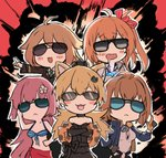 5girls :3 :< :d ahoge alternate_costume animal_ears bikini_top bomber_jacket cat_ears commentary_request diamond drooling explosion ganesagi girls_frontline gloves grizzly_mkv_(girls_frontline) hair_ornament idw_(girls_frontline) jacket kalina_(girls_frontline) m1918_bar_(girls_frontline) multiple_girls ntw-20_(girls_frontline) open_mouth pointy_ears sarong smile sunglasses v-shaped_eyebrows