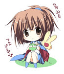 1girl arle_nadja brown_eyes brown_hair cape carbuncle_(puyopuyo) chibi korie_riko looking_at_viewer parted_lips ponytail puyo_(puyopuyo) puyopuyo sitting translation_request