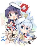 2girls akatsuki_(kantai_collection) bare_arms bare_shoulders binoculars black_sailor_collar blue_eyes chibi dress enemy_lifebuoy_(kantai_collection) hair_between_eyes hat hibiki_(kantai_collection) highres hizuki_yayoi kantai_collection long_hair messy_hair multiple_girls necktie open_mouth purple_eyes purple_hair red_neckwear sailor_collar sailor_dress sailor_hat scallop ship's_wheel silver_hair sleeveless sleeveless_dress smile string_of_flags white_background white_dress white_headwear