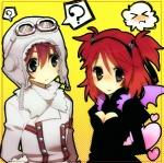 1boy 1girl ? alternate_costume asbel_lhant blue_eyes brown_eyes cheria_barnes cleavage_cutout couple hat hetero red_hair simple_background tales_of_(series) tales_of_graces two_side_up wings yellow_background yuma_(zero)