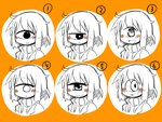1girl :< :> :d blush_stickers cyclops expressions face grin jitome light_smile looking_at_viewer masha multiple_views one-eyed open_mouth orange_background original scarf sidelocks simple_background sketch smile