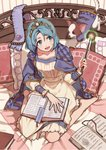 1girl :d barefoot blue_eyes blue_hair book cape commentary_request copyright_request crown dog dress eyebrows_visible_through_hair fingernails holding long_sleeves magic on_bed open_book open_mouth pillow short_hair sitting smile solo sonomura wand wariza yellow_dress