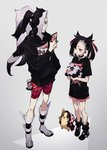1boy 1girl asymmetrical_hair black_hair blush boots brother_and_sister cellphone earrings full_body galarian_form galarian_zigzagoon gen_8_pokemon green_eyes grey_background gym_leader hair_over_one_eye highres hood hoodie jewelry mary_(pokemon) morpeko multicolored_hair namakawa nezu_(pokemon) phone poke_ball poke_ball_(generic) pokemon pokemon_(creature) pokemon_(game) pokemon_swsh ponytail ring shorts siblings standing twintails two-tone_background two-tone_hair undercut waist_poke_ball white_hair