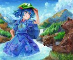 1girl backpack bag bear blue_backpack blue_eyes blue_hair blue_shirt blue_skirt blue_sky cloud cowboy_shot cub day flat_cap forest hair_between_eyes hair_bobbles hair_ornament hand_on_headwear hand_on_hip harikona hat kawashiro_nitori key looking_at_viewer mountain nature oil_painting_(medium) outdoors pocket puffy_short_sleeves puffy_sleeves river shirt short_hair short_sleeves skirt skirt_set sky smile solo standing touhou traditional_media two_side_up wading water waterfall