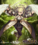 1girl angel angel_wings blonde_hair brown_eyes halo highres long_hair matsui_hiroaki official_art shingeki_no_bahamut solo sword weapon wings