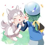 +++ 2girls :d ^_^ animal_ears bag bangs blue_headwear blue_shirt blue_shorts blush bow cheek_squash closed_eyes commentary dog_(mixed_breed)_(kemono_friends) dog_ears dog_girl dog_tail elbow_gloves eyebrows_visible_through_hair fur-trimmed_sleeves fur_trim gloves green_hair grey_hair grey_skirt hair_bow heart helmet highres kemono_friends long_hair long_sleeves makuran multicolored_hair multiple_girls no_shoes open_mouth pantyhose pleated_skirt seiza shirt short_over_long_sleeves short_shorts short_sleeves shorts shoulder_bag sitting skirt smile tail tail_wagging tomoe_(kemono_friends)_(niconico88059799) two-tone_hair white_gloves white_hair white_legwear white_shirt yellow_bow
