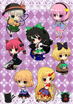 6+girls :3 animal_ears arm_warmers bird black_hair black_wings blonde_hair bow braid bucket cape cat cat_ears cat_tail chain checkered checkered_background chibi dress everyone eyeball green_eyes green_hair hair_bobbles hair_bow hair_ornament hairband hat heart heart_of_string horn hoshiguma_yuugi in_bucket in_container kaenbyou_rin kaenbyou_rin_(cat) kayama_benio kisume komeiji_koishi komeiji_satori kurodani_yamame long_hair mizuhashi_parsee multiple_girls multiple_tails one_eye_closed open_mouth pink_hair pointy_ears polka_dot polka_dot_background ponytail purple_eyes red_eyes red_hair reiuji_utsuho reiuji_utsuho_(bird) ribbon sakazuki scarf short_hair skirt smile subterranean_animism tail third_eye touhou twin_braids twintails wheelbarrow wings