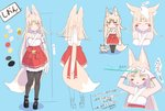 absurdres ahoge animal_ear_fluff animal_ears bangs bare_shoulders bell black_legwear blonde_hair blunt_bangs blush_stickers bow character_sheet commentary_request eyebrows_visible_through_hair facial_mark forehead forehead_beam forehead_mark fox fox_ears fox_girl fox_tail frilled_skirt frills full_body gloves hair_bow hakama_skirt halterneck height_chart highres hime_cut japanese_clothes jingle_bell loafers lolita_fashion long_hair miko nontraditional_miko original pantyhose petting ribbon_trim sapnoji shoes short_eyebrows skirt tail wa_lolita yellow_eyes