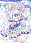 1girl angel angel_wings bare_shoulders barefoot blue_dress blue_sky blush bow checkered checkered_floor choker corset day dress eyebrows_visible_through_hair feathered_wings flower frilled_dress frills grey_hair hair_flower hair_ornament hair_over_one_eye hair_ribbon kneeling looking_at_viewer love_live! love_live!_school_idol_festival official_art open_mouth outdoors red_eyes ribbon sky smile solo takano_yuki_(allegro_mistic) tanaka_sachiko twintails white_wings wings wrist_cuffs