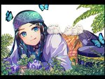 1girl ainu ainu_clothes araiguma_(gomipanda123) asirpa bandana bird bird_on_back black_border black_hair blue_eyes blue_gloves border bug butterfly chick choker dandelion earrings fingerless_gloves flower gloves golden_kamuy hat headband highres hoop_earrings insect jewelry licking_lips long_hair looking_at_viewer lying on_ground on_stomach plant shiny shiny_hair solo straight_hair tongue tongue_out wide_sleeves