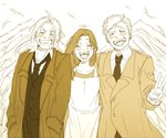 1girl 2boys :d ^_^ ahoge alphonse_elric angel_wings apron blush brothers buttons closed_eyes coat commentary_request crying dress dress_shirt edward_elric eyebrows_visible_through_hair eyelashes feathers fingernails fullmetal_alchemist grin halo hands_in_pockets hands_on_another's_shoulders happy happy_tears monochrome mother_and_son multiple_boys necktie open_clothes open_coat open_mouth ponytail sepia shirt siblings side_ponytail simple_background smile standing tears teeth trisha_elric upper_body v v-shaped_eyebrows waistcoat white_background wings yuppenta2