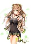 1girl absurdres ahoge bangs bare_shoulders black_dress blush bow breasts brown_hair camouflage_jacket character_name choker cleavage collarbone cowboy_shot dated dog_tags double_bun dress eyebrows_visible_through_hair fingerless_gloves fur-trimmed_jacket fur_trim girls_frontline gloves green_eyes hair_bow hand_behind_head highres jacket jewelry long_hair looking_at_viewer medium_breasts necklace off_shoulder paint_splatter rfb_(girls_frontline) short_dress signature sleeveless sleeveless_dress smile solo stuffed_animal stuffed_toy teddy_bear teratsuki thighs