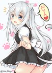 1girl alternate_costume animal_ears blue_eyes blush cat_ears cat_tail dress eyebrows_visible_through_hair fake_animal_ears fake_tail hair_between_eyes heart hibiki_(kantai_collection) kantai_collection long_dress looking_at_viewer open_mouth silver_hair solo sou_(soutennkouchi) tail