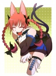 1girl animal_ears bad_id bad_pixiv_id bare_shoulders bent_over black_legwear boots bow braid cat_ears cat_tail closed_eyes colored_eyelashes cosplay detached_sleeves extra_ears hair_bow highres kaenbyou_rin lace-up_thighhighs leaning_forward long_hair morichika_rinnosuke morichika_rinnosuke_(cosplay) multiple_tails open_mouth pointy_ears red_eyes sakurai_energy skirt smile solo tail thigh_boots thighhighs thighs touhou twin_braids twintails