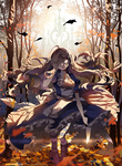 1girl alice:_madness_returns alice_(wonderland) alice_in_wonderland boots brown_hair dress gate glowing glowing_eyes hand_over_eye jewelry knife leaf long_hair looking_at_viewer necklace open_mouth pantyhose solo striped striped_legwear tree tsukii uranus_symbol