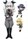 3girls absurdres anchovy boots carpaccio chibi girls_und_panzer grey_hair highres knife multiple_girls necktie official_art pepperoni pepperoni_(girls_und_panzer) riding_crop short_hair simple_background twintails uniform weapon white_background