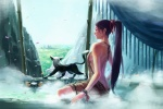 1girl animal back backless_outfit bare_back breasts butt_crack cityscape copyright_request hair_ribbon long_hair medium_breasts onsen oropi petals ponytail ribbon scenery sideboob sitting solo steam very_long_hair