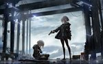 2girls aiming black_footwear black_jacket black_legwear black_shirt black_skirt blood blood_splatter blue_eyes cloud cloudy_sky commentary container crane day dripping eyebrows_visible_through_hair finger_on_trigger glock grey_hair gun hair_between_eyes handgun harbor highres holding holding_arm holding_gun holding_weapon jacket ladder multiple_girls open_clothes open_jacket original outdoors pantyhose pistol pleated_skirt profile rain reflection serious shirt shoes shotgun shotgun_shells sitting skirt sky sneakers standing swav weapon weapon_request