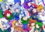 6+girls :3 :o :q ;) ;d absurdres american_flag_dress animal_ear_fluff animal_ears arm_up bangs black_bow black_hair black_hairband black_hat black_ribbon blonde_hair blouse blue_dress blue_eyes blue_neckwear blue_skirt bob_cut bow braid breasts brown_hair bunny_ears cat_ears clownpiece collarbone commentary_request covering_mouth dress eyebrows_visible_through_hair frog_hair_ornament green_background green_bow green_dress green_eyes green_hair green_ribbon green_vest hair_between_eyes hair_bow hair_ornament hair_ribbon hair_tubes hairband hands_up hat head_tilt highres holding_hands horns huge_filesize ishimu izayoi_sakuya jester_cap kaenbyou_rin kijin_seija kochiya_sanae konpaku_youmu large_breasts long_hair long_sleeves looking_at_viewer maid maid_headdress medium_breasts mononobe_no_futo multicolored_hair multiple_girls neck_ribbon neck_ruff necktie nishida_satono one_eye_closed open_mouth parted_lips pink_dress pink_eyes polka_dot_hat pom_pom_(clothes) ponytail profile puffy_short_sleeves puffy_sleeves purple_hair purple_hat purple_sash red_dress red_eyes red_hair red_neckwear red_sailor_collar reisen_udongein_inaba ribbon sailor_collar shirt short_hair short_hair_with_long_locks short_sleeves silver_hair simple_background single_sidelock skirt smile snake_hair_ornament streaked_hair striped striped_dress teireida_mai tongue tongue_out toramaru_shou touhou twin_braids twintails upper_body upside-down vest white_blouse white_dress white_hair white_shirt wide_sleeves wing_collar yellow_bow yellow_eyes
