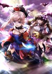 2girls absurdres asymmetrical_hair autumn_leaves bat black_legwear blue_eyes blue_kimono breasts brown_hair cloak closed_mouth commentary_request detached_sleeves drawing_tablet dual_wielding earrings eyebrows_visible_through_hair fate/grand_order fate_(series) full_moon gradient_hair hair_ornament hairband hane_yuki highres holding holding_sword holding_weapon hood hood_down huge_filesize japanese_clothes jewelry katana kimono large_breasts leaf_print long_hair low_twintails magatama maple_leaf_print miyamoto_musashi_(fate/grand_order) moon multicolored_hair multiple_girls navel_cutout obi open_mouth origami osakabe-hime_(fate/grand_order) outdoors pink_hair ponytail purple_eyes purple_skirt sandals sash sheath short_kimono skirt sleeveless sleeveless_kimono sword thighhighs twintails unsheathed very_long_hair weapon wide_sleeves
