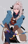 1boy fire_emblem holding holding_weapon ichiyou_(kazuha1003) japanese_clothes looking_at_viewer ponytail red_eyes silver_hair simple_background smile solo sword takumi_(fire_emblem_if) wakizashi weapon