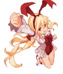 1girl arm_up armpits blonde_hair clenched_hands demon_tail detached_sleeves disgaea flonne flonne_(fallen_angel) hairband highres jumping leotard long_hair makai_senki_disgaea open_mouth red_eyes red_leotard ribbon shoes simple_background smile solo tail white_background yanyan_(shinken_gomi)