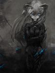 1girl blue_eyes bodysuit grey horns long_hair looking_at_viewer monochrome original solo spot_color toi_(number8)
