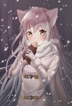 1girl animal_ears blush cat_ears daengdaeng duffel_coat elsword eve_(elsword) food gloves grey_coat hands_up holding holding_food long_coat long_hair long_sleeves looking_at_viewer scarf silver_hair snowing solo upper_body very_long_hair white_gloves white_scarf winter winter_clothes yellow_eyes