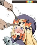 1girl abigail_williams_(fate/grand_order) blonde_hair crying drooling fate/grand_order fate_(series) gameplay_mechanics hat heart heart-shaped_pupils highres keyhole lockpick ribbon sleeves_past_wrists symbol-shaped_pupils the_elder_scrolls the_elder_scrolls_v:_skyrim trembling waterkuma wavy_mouth