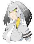 1girl asymmetrical_hair black_hair blonde_hair breast_pocket breasts collared_shirt green_eyes grey_hair grey_shirt hair_between_eyes hair_tie head_wings highres juz kemono_friends large_breasts long_hair multicolored_hair necktie pocket shirt shoebill_(kemono_friends) short_sleeves simple_background solo upper_body white_background white_necktie