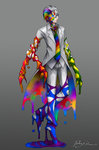 1boy bangs blue_eyes closed_mouth coat collared_shirt colorful commentary_request extra_arms eyebrows_visible_through_hair grey_background grey_hair grey_shirt hair_slicked_back horror_(theme) looking_at_viewer male_focus melting multicolored_neckwear necktie original pants rainbow_order ray-k shirt signature simple_background smile solo standing wet white_coat white_pants wing_collar