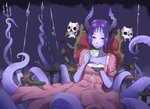 1girl artist_name bangs cup dress eudetenis facial_mark highres holding holding_cup horns looking_at_viewer monster_girl original parted_bangs parted_lips pink_dress pointy_ears polearm purple_hair purple_skin red_eyes saucer scylla short_hair short_sleeves sitting skull solo spear tea teacup tentacles thrown trident weapon