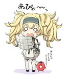 1girl alternate_costume blonde_hair blush commentary_request enemy_lifebuoy_(kantai_collection) engiyoshi eyebrows_visible_through_hair gambier_bay_(kantai_collection) hair_between_eyes holding_map kantai_collection long_hair long_sleeves map o_o open_mouth shinkaisei-kan simple_background tears thighhighs translated twintails white_background white_legwear